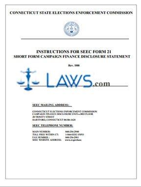 SEEC Form 21 Instructions Short Form Campaign Finance Disclosure Statement