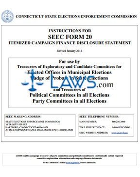 SEEC Form 20 Instructions Itemized Campaign Finance Disclosure Statement