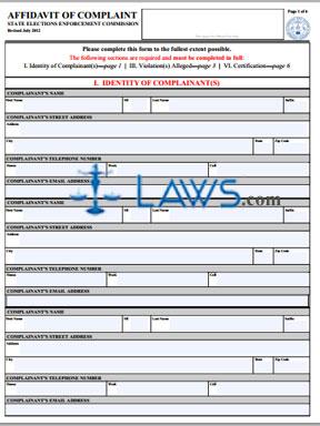 Elections Enforcement Commission Complaint Form