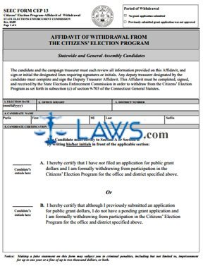 FORM CEP 13 Affidavit of Withdrawal Form