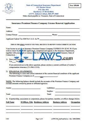 Premium Finance Company Renewal Application
