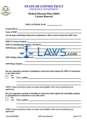 Medical Discount Plan License Renewal