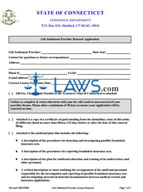 Life Settlement Provider Renewal Application