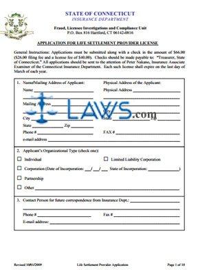 Life Settlement Provider Application