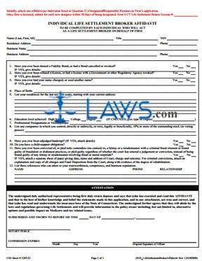 Life Settlement Broker Biographical Affidavit