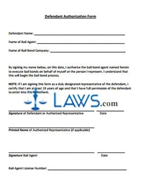Bail Bond Defendant Authorization