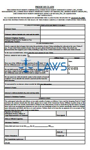 CT Surety Liquidation Claim Form