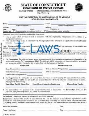 Form Q-20 Use Tax Exemption on Motor Vehicles or Vessels Sold to or by Businesses