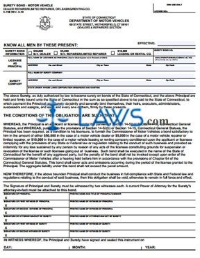Form k 158 surety bond connecticut forms for What is a motor vehicle bond