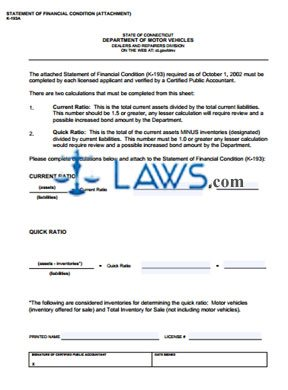 Form K-193A Statement of Financial Condition attachment