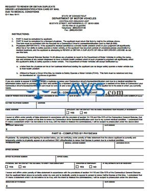 Form CI-1 Request to Renew or Obtain Duplicate Driver's License or ID Card By Mail Due to Medical Conditions