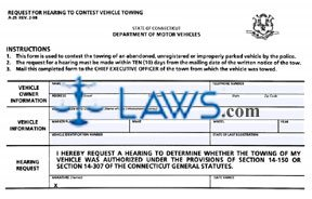 Form A-25 Request for Hearing to Contest Vehicle Towing