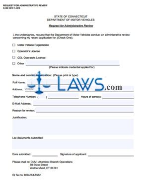 Form B360 Request for Administrative Review
