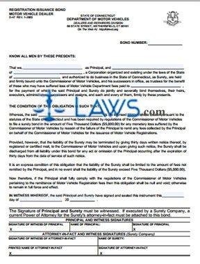 Form D-47 Registration Issuance Bond