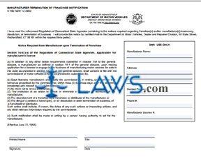Form K-196 Manufacturer Termination of Franchise Notification
