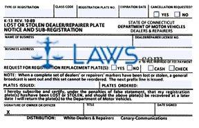Form K-13 Lost or Stolen Dealer or Repairer Plate Notice and Sub-Registration