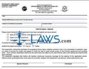 Form SR-37 Insurance Compliance Consent Agreement