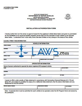 Form P-248 Ignition Interlock Device Installation Authorization Form