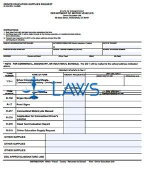 Form R-319 Driver Education Supplies Request