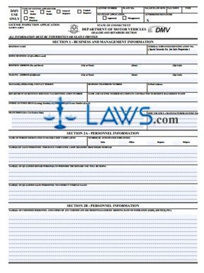 Form K-8 Dealers and Repairers License Inspection Application