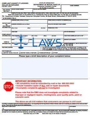 Form K-35 Complaint Against CT Licensed Dealer or Repairer