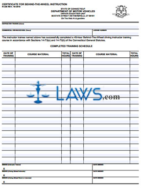 Form R-230 Certification for Behind the Wheel Instruction