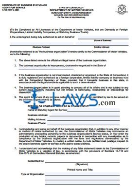 Form K-198 Certificate of Business Status and Agent for Service