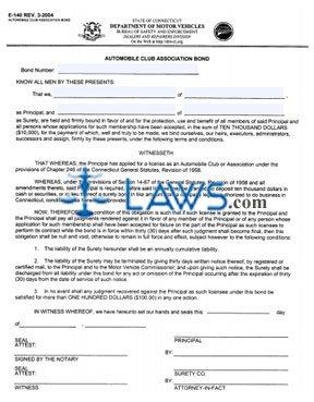 Form E-140 Automobile Club Association Bond