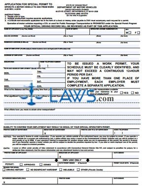 Form A-62REV407 Application for Special Permit to Operate a Motor Vehicle to and From Work
