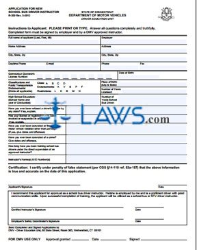 Form R-359 Application for New School Bus Driver Instructor