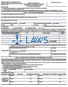Form K-91 Application for Connecticut Motor Vehicle Junkyard License