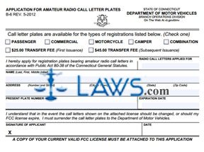 Form B-6 Application for Amateur Radio Call Letter License Plates
