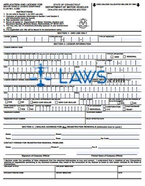 Form E-229 Application and License for Motor Vehicle Leasing Companies