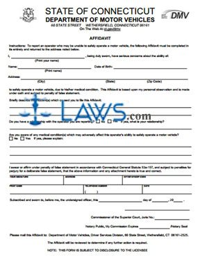 Affidavit to Report a Driver Who May Be Unable to Safely Operate a Motor Vehicle