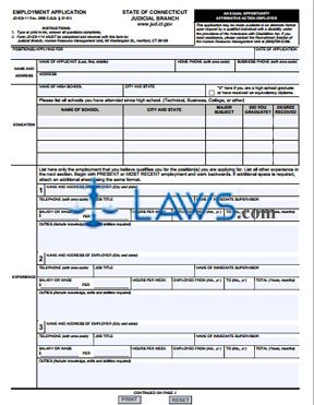 Form JD-ES-11 Employment Application