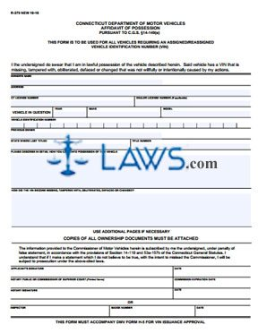 Form R379 Affidavit of Possession