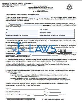 Form H-125 Affidavit of Motor Vehicle Transfer by Self-Service Storage Facility