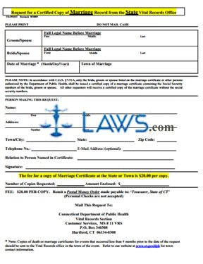 Form VS-39MST Request for a Certified Copy of Marriage Record from the Town City Vital Records