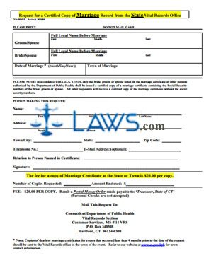 Form Request for a Certified Copy of Marriage Record from the State Vital Records Office