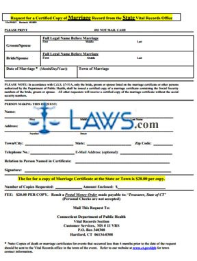 Form CT Request for a Certified Copy of Marriage Record from the State Vital Records Office