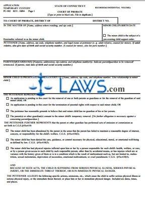 Form PC-502AR Application Temporary Custody