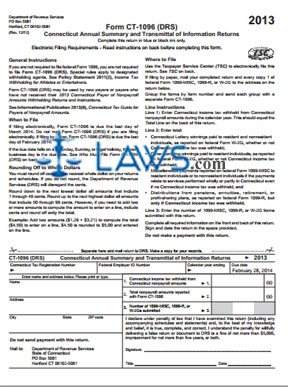 Form CT-1096 Annual Summary and Transmittal of Information Returns