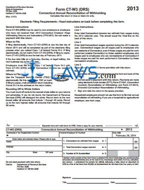 Form CT-W3 Annual Reconciliation of Withholding