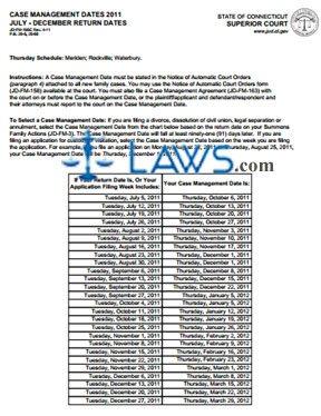 Form JD-FM-165C_JULY-DEC_2011 Case Management Dates 2011