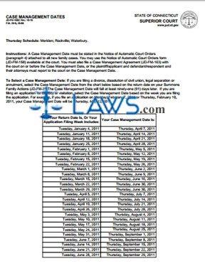 Form JD-FM-165C_JAN-JUNE_2011 Case Management Dates 2011