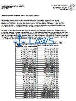 Form JD-FM-165B_JAN-JUNE_2011 Case Management Dates 2011