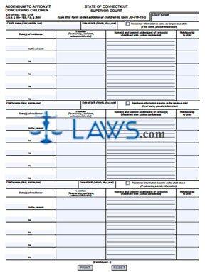 Form JD-FM-164A Addendum to Affidavit Concerning Children