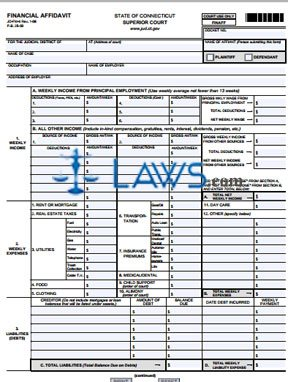 Form JD-FM-6 Financial Affidavit
