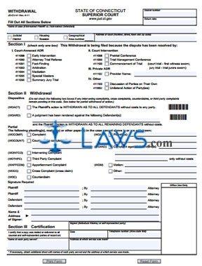 Form JD-CV-41 Withdrawal