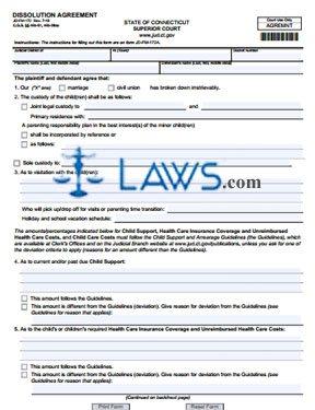 Form JD-FM-172 Divorce Agreement form